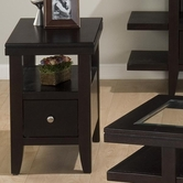 Jofran 091-7 MARLON WENGE FINISH CHAIRSIDE TABLE with WOOD TOP, DRAWER AND SHELF