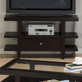 Jofran 091-9 MARLON WENGE FINISH SOFA/MEDIA UNIT with WOOD TOP, DRAWER AND SHELF