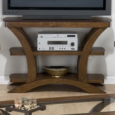 Jofran 094-9 KIRSTIN CHERRY FINISH SOFA TABLE/MEDIA UNIT with 2 SHELVES - WOOD TOP