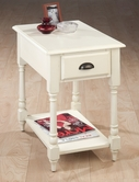Jofran 1029-7 ANTIQUE WHITE FINISH CHAIRSIDE TABLE with TURNED LEG