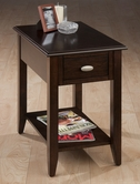 Jofran 1030-7 MERLOT FINISH CHAIRSIDE TABLE with BOOKMATCH INLAY, QUARTER ROUND EDGE AND OVAL BRUSHED NICKLE HARDWARE
