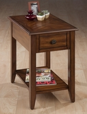 Jofran 1031-7 MEDIUM BROWN FINISH CHAIRSIDE TABLE with BOOKMATCH INLAY, QUARTER ROUND EDGE AND ROUND ANTIQUE BRONZE FLORET HARDWARE