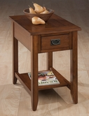 Jofran 1032-7 MISSION OAK FINISH CHAIRSIDE TABLE with PICTURE FRAMED TOP AND BLACK MISSION HARDWARE