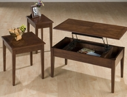 Jofran 109 BOISE BROWN CHERRY FINISH LIFT-TOP COCKTAIL TABLE PACKED with END AND CHAIRSIDE TABLE IN ONE CARTON