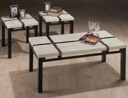 Jofran 129 COAL BLACK / TECHMETRIC FROST MARBLE VENEER FINISH COCKTAIL TABLE AND 2 END TABLES with GIFT WRAP INLAY ON FAUX MARBLE TECHMETRIC TOP