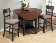Jofran 218-48-4XBS336KD BRUNETTE / CHERRY FINISH COUNTER HEIGHT DOUBLE LEAF TABLE SET