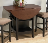 Jofran 218-48 BRUNETTE / CHERRY FINISH COUNTER HEIGHT DOUBLE LEAF TABLE with 8 WINE BOTTLE STORAGE AND SHELF BASE
