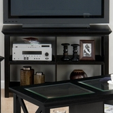 Jofran 227-4 RUTLAND BLACK FINISH SOFA/MEDIA UNIT with X SIDES AND SHELF