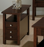 Jofran 251-7 MINIATURES - MILTON CHERRY FINISH CHAIRSIDE TABLE with 2 DRAWERS AND SHELF (ASSEMBLED)
