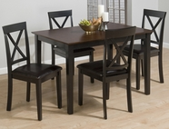 "Jofran 261 BURLY BROWN / BLACK FINISH 5 PACK - TABLE AND 4 ""X"" BACK CHAIRS with FAUX LEATHER SEAT"