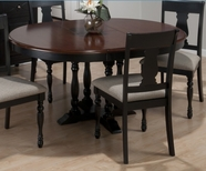 Jofran 293-48 CHESTERFIELD TAVERN ROUND TO OVAL BUTTERFLY LEAF TABLE, PEDESTAL BASE with 4 FLUTED LEGS
