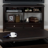 Jofran 319-4 CORRANADO ESPRESSO FINISH SOFA/MEDIA UNIT with 2 DRAWERS AND 2 SHELVES
