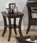 Jofran 328-7 JOES ESPRESSO FINISH CHAIRSIDE TABLE with CLIPPED CORNERS AND SHELF