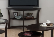 Jofran 347-4 SKYLAH ESPRESSO FINISH DEMILUNE SOFA/MEDIA TABLE with SHELF