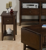 Jofran 354-7 MINIATURES - NEWPORT CHERRY FINISH CHAIRSIDE TABLE with DRAWER AND SHELF