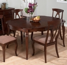 Jofran 369-66 CORSICA CHERRY FINISH SHAPED ROUND TABLE with BUTTERFLY LEAF, 35mm TOP AND 90mm APRON