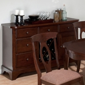 Jofran 369-95 CORSICA CHERRY FINISH SERVER with 5 DRAWERS, DOOR (SHELF BEHIND DOOR) & REMOVABLE WINE RACK