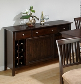 Jofran 373-95 BAKER'S CHERRY FINISH SERVER with 3 DRAWERS, 2 SLIDING DOORS AND REMOVABLE WINE RACK