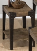 Jofran 406-7 TIMBER ELM FINISH CHAIRSIDE TABLE with SHELF AND INDUSTRIAL STYLE LEGS