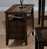 Jofran 428-7 CHESTNUT BROWN FINISH CHAIRSIDE TABLE with 3 DRAWERS (ASSEMBLED)