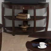 Jofran 436-4 RIVERSIDE BROWN WALNUT FINISH DEMILUNE SOFA TABLE with DRAWER, 2 SHELVES AND WIRE MANAGEMENT