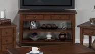 Jofran 443-4 CLAY COUNTY OAK FINISH SOFA/MEDIA TABLE with 2 DRAWERS AND 2 SHELVES