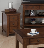 Jofran 443-7 CLAY COUNTY OAK FINISH CHAIRSIDE TABLE with 3 DRAWERS
