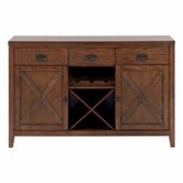 Jofran 461-95 CIRRUS OAK FINISH SERVER with 3 DRAWERS, 2 DOORS, SHELF AND REMOVABLE WINE RACKS