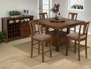 Jofran 477-55B-T-4XBS297KD SADDLE BROWN OAK FINISH COUNTER HEIGHT TABLE SET