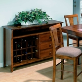 Jofran 477-90 SADDLE BROWN OAK FINISH SERVER with CONVERTIBLE (20 BOTTLE) WINE RACK AND 2 DRAWERS ~ SOLID TOP AND WOODEN HARDWARE