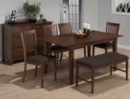 Jofran 493-66-4X158KD WAYLAND BROWN ASH FINISH RECTANGLE BUTTERFLY LEAF TABLE SET