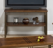 Jofran 536-4 Barrington Cherry Finish Sofa/Media Unit With Shelf, Inlay Wood Top And Metal Apron And Legs