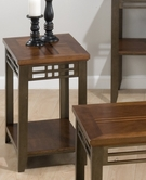Jofran 536-7 BARRINGTON CHERRY FINISH CHAIRSIDE TABLE with SHELF, INLAY WOOD TOP AND METAL APRON AND LEGS