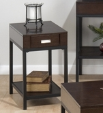 Jofran 594-7 EARVIN ESPRESSO FINISH CHAIRSIDE TABLE with DRAWER AND SHELF