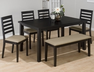 Jofran 596-60 BONN BLACK FINISH RECTANGLE PARSON TABLE with FIXED TOP