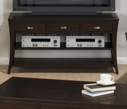 Jofran 629-4 MANHATTAN ESPRESSO FINISH SOFA/MEDIA UNIT with 3 DRAWERS AND SHELF