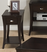 Jofran 629-7 MANHATTAN ESPRESSO FINISH CHAIRSIDE TABLE with DRAWER AND SHELF