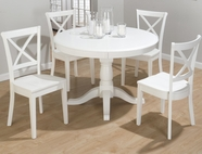 Jofran 662-66B-T-4X124KD CASPER WHITE FINISH ROUND TO OVAL BUTTERFLY LEAF TABLE SET