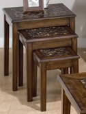 Jofran 698-7 BAROQUE BROWN FINISH 3 NESTING CHAIRSIDE TABLE with MOSAIC TILE INLAY