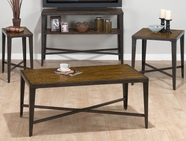 Jofran 703-1-3-7-9 GLENNA ELM AND BLACK METAL FINISH OCCASIONAL TABLE SET