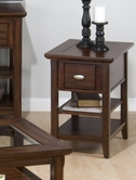 Jofran 709-7 BELLINGHAM BROWN FINISH CHAIRSIDE TABLE with DRAWER AND 2 SHELVES