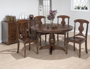 "Jofran 733-52B-T-4X709KD URBAN LODGE FINISH RUSTIC HEWN 52"" ROUND FIXED-TABLE SET"