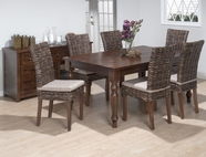 Jofran 733-66-4x401KD URBAN LODGE FINISH RUSTIC HEWN RECTANGLE FIXED TOP TABLE SET