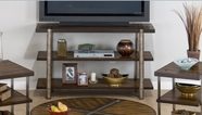 Jofran 746-4 MALDEN BROWN FINISH SOFA/MEDIA UNIT with 2 SHELVES