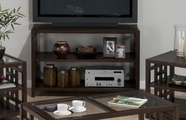 Jofran 754-4 APEX DARK BROWN FINISH SOFA/MEDIA UNIT with SHELF AND VENEER TOP
