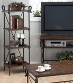 Jofran 772-8 RUTLEDGE PINE FINISH DISTRESSED RUSTIC PINE ETAGERE with 4 WOODEN SHELVES