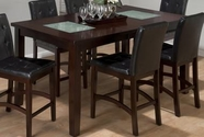 Jofran 863-42 Chadwick Espresso Finish Rectangle Counterheight Table With 2 Crackled Glass Inserts