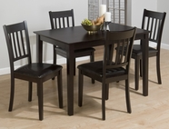 Jofran 891 MARIN COUNTY MERLOT FINISH 5 PACK - TABLE AND 4 SLAT BACK SIDE CHAIRS with FAUX LEATHER SEAT PACKED IN ONE CARTON. CHAIRS MEASURE 18x22x36.