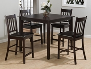 Jofran 892 MARIN COUNTY MERLOT FINISH 5 PACK - TABLE AND 4 SLAT BACK STOOLS with FAUX LEATHER SEAT PACKED IN ONE CARTON. STOOLS MEASURE 18x21x40.
