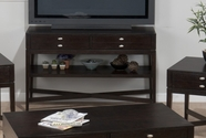 Jofran 934-4 GRANBY ESPRESSO FINISH SOFA/MEDIA TABLE with X STRETCHER BASE, 2 DRAWERS AND SHELF